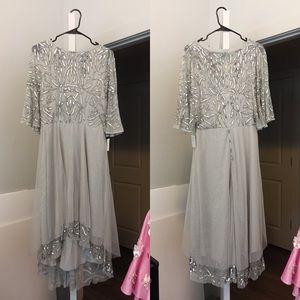 Sequins Flutter Sleeve High Low Dress